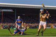 25 February 2018; TJ Reid of Kilkenny in action against Seamus Kennedy of Tipperary, 5, and James Barry of Tipperary during the Allianz Hurling League Division 1A Round 4 match between Kilkenny and Tipperary at Nowlan Park in Kilkenny. Photo by Harry Murphy/Sportsfile
