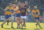 25 February 2018; Lee Chin, centre, Paul Morris and Paudie Foley of Wexford in action against, from left, David McInerney, Niall Deasy and Jason McCarthy of Clare during the Allianz Hurling League Division 1A Round 4 match between Wexford and Clare at Innovate Wexford Park in Wexford. Photo by Matt Browne/Sportsfile