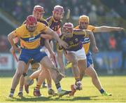 25 February 2018; Lee Chin, centre, Paul Morris and Paudie Foley of Wexford in action against Niall Deasy, left, and Jason McCarthy of Clare during the Allianz Hurling League Division 1A Round 4 match between Wexford and Clare at Innovate Wexford Park in Wexford. Photo by Matt Browne/Sportsfile