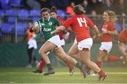 25 February 2018; Katie Fitzhenry of Ireland makes a break in the build up to her side's second try during the Women's Six Nations Rugby Championship match between Ireland and Wales at Donnybrook Stadium in Dublin. Photo by David Fitzgerald/Sportsfile