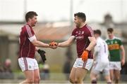 25 February 2018; Gareth Bradshaw, left, and Damien Comer of Galway celebrate at the final whistle after victory over Kerry in the Allianz Football League Division 1 Round 4 match between Kerry and Galway at Austin Stack Park in Kerry. Photo by Diarmuid Greene/Sportsfile