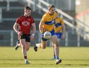 25 February 2018; Gary Brennan of Clare in action against Darragh O'Hanlon of Down during the Allianz Football League Division 2 Round 4 match between Down and Clare at Páirc Esler, Newry, in Down. Photo by Oliver McVeigh/Sportsfile