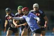 25 February 2018; Ryan O'Dwyer of Dublin in action against Gearóid McInerney of Galway during the Allianz Hurling League Division 1B Round 4 match between Dublin and Galway at Parnell Park in Dublin. Photo by Daire Brennan/Sportsfile