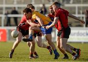 25 February 2018; Alan Sweeney of Clare in action against Brendan McArdle and Caolan Mooney of Down during the Allianz Football League Division 2 Round 4 match between Down and Clare at Páirc Esler, Newry, in Down. Photo by Oliver McVeigh/Sportsfile