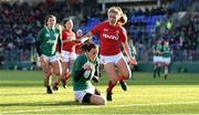 25 February 2018; Hannah Tyrrell of Ireland goes over to score her side's fourth try during the Women's Six Nations Rugby Championship match between Ireland and Wales at Donnybrook Stadium in Dublin. Photo by David Fitzgerald/Sportsfile