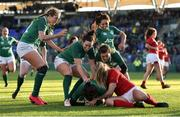 25 February 2018; Hannah Tyrrell of Ireland is congratulated by team mates after scoring her side's fourth try during the Women's Six Nations Rugby Championship match between Ireland and Wales at Donnybrook Stadium in Dublin. Photo by David Fitzgerald/Sportsfile