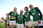 25 February 2018; Ireland players, from left, Aoife McDermott, Michelle Claffey, Megan Williams and Hannah Tyrrell following the Women's Six Nations Rugby Championship match between Ireland and Wales at Donnybrook Stadium in Dublin. Photo by David Fitzgerald/Sportsfile