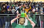 25 February 2018; Supporters cheer as Niamh Briggs of Ireland puts on a hat they threw to her following the Women's Six Nations Rugby Championship match between Ireland and Wales at Donnybrook Stadium in Dublin. Photo by David Fitzgerald/Sportsfile