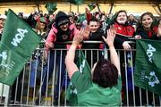 25 February 2018; Lindsay Peat of Ireland high fives supporters following the Women's Six Nations Rugby Championship match between Ireland and Wales at Donnybrook Stadium in Dublin. Photo by David Fitzgerald/Sportsfile
