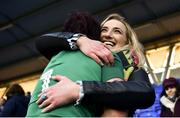25 February 2018; Lindsay Peat of Ireland with injured Ireland rugby player Ciara Cooney following the Women's Six Nations Rugby Championship match between Ireland and Wales at Donnybrook Stadium in Dublin. Photo by David Fitzgerald/Sportsfile