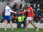 25 February 2018; Austin Gleeson of Waterford shakes hands with Robbie O'Flynn of Cork after the Allianz Hurling League Division 1A Round 4 match between Cork and Waterford at Páirc Uí Chaoimh in Cork. Photo by Eóin Noonan/Sportsfile