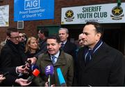 26 February 2018; In attendance are An Taoiseach Leo Varadkar, right, and Minister for Finance Paschal Donohoe as they met with representatives from Sheriff Youth Club in the North East inner city today. AIG Insurance and JLT Insurance Brokers worked together to provide reasonably priced insurance for the club, enabling teams to get back out playing games. AIG, together with other North East Inner City businesses, is supporting the Minister's community development initiative in the area via a range of community-based programmes. Photo by David Fitzgerald/Sportsfile