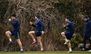 26 February 2018; Senior rehabilitation coach Diarmaid Brennan watches Leinster players, from left, Tom Daly, Ross Byrne and Richardt Strauss during Leinster Rugby squad training at UCD in Dublin. Photo by Ramsey Cardy/Sportsfile