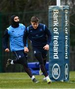 26 February 2018; Garry Ringrose, right, and James Lowe during Leinster Rugby squad training at UCD in Dublin. Photo by Ramsey Cardy/Sportsfile