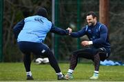 26 February 2018; Dave Kearney, right, and James Lowe during Leinster Rugby squad training at UCD in Dublin. Photo by Ramsey Cardy/Sportsfile