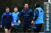26 February 2018; Dave Kearney, left, and James Lowe during Leinster Rugby squad training at UCD in Dublin. Photo by Ramsey Cardy/Sportsfile