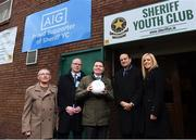 26 February 2018; In attendance, from left, Sheriff YC President Jack Russell, AIG Ireland GM Declan O'Rourke, Minister for Finance Paschal Donohoe, An Taoiseach Leo Varadkar and JLT Director Amanda Harton as they met with representatives from Sheriff Youth Club in the North East inner city today. AIG Insurance and JLT Insurance Brokers worked together to provide reasonably priced insurance for the club, enabling teams to get back out playing games. AIG, together with other North East Inner City businesses, is supporting the Minister's community development initiative in the area via a range of community-based programmes. Photo by David Fitzgerald/Sportsfile
