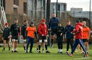 26 February 2018; Jack Stafford, Sean McCarthy, Dave O'Callaghan, Ian Keatley, Jack O'Donoghue, Robin Copeland, Dave Kilcoyne, Dan Goggin, and Jeremy Loughman with head of athletic performance Aled Walters during Munster Rugby squad training at the University of Limerick in Limerick. Photo by Diarmuid Greene/Sportsfile