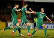 26 February 2018; Graham Cummins of Cork City, centre, turns to celebrate after scoring his side's first goal with Gearóid Morrissey, left, and Conor McCormack of Cork City during the SSE Airtricity League Premier Division match between Sligo Rovers and Cork City at The Showgrounds in Sligo. Photo by Oliver McVeigh/Sportsfile