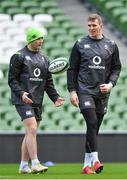 27 February 2018; Jordan Larmour, left, and Chris Farrell during an Ireland rugby open training session at the Aviva Stadium in Dublin. Photo by Ramsey Cardy/Sportsfile