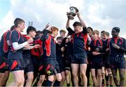 27 February 2018; Chris Gilmer of Wesley College lifts the trophy after the Bank of Ireland Leinster Schools Fr. Godfrey Cup Final match between Kilkenny College and Wesley College at Naas RFC in Kildare. Photo by Harry Murphy/Sportsfile
