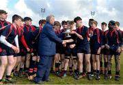 27 February 2018; Senior Vice President of Leinster Rugby Lorcan Balfe presents the trophy to Chris Gilmer of Wesley College the Bank of Ireland Leinster Schools Fr. Godfrey Cup Final match between Kilkenny College and Wesley College at Naas RFC in Kildare. Photo by Harry Murphy/Sportsfile