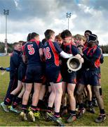 27 February 2018; Wesley College players celebrate with the trophy after the Bank of Ireland Leinster Schools Fr. Godfrey Cup Final match between Kilkenny College and Wesley College at Naas RFC in Kildare. Photo by Harry Murphy/Sportsfile