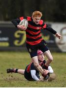 27 February 2018; Richard Crotty of Kilkenny College is tackled by Adam Galbraith of Wesley College during the Bank of Ireland Leinster Schools Fr. Godfrey Cup Final match between Kilkenny College and Wesley College at Naas RFC in Kildare. Photo by Harry Murphy/Sportsfile