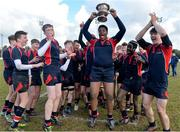 27 February 2018; Adeola Ogunyemi of Wesley College lifts the trophy after the Bank of Ireland Leinster Schools Fr. Godfrey Cup Final match between Kilkenny College and Wesley College at Naas RFC in Kildare. Photo by Harry Murphy/Sportsfile