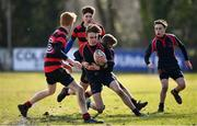 27 February 2018; Toby Durham of Wesley College is tackled by Fiach O'Byrne of Kilkenny College during the Bank of Ireland Leinster Schools Fr. Godfrey Cup Final match between Kilkenny College and Wesley College at Naas RFC in Kildare. Photo by Harry Murphy/Sportsfile