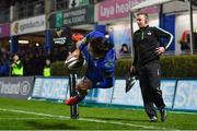 23 February 2018; James Lowe of Leinster scores his side's eighth try during the Guinness PRO14 Round 16 match between Leinster and Southern Kings at the RDS Arena in Dublin. Photo by Brendan Moran/Sportsfile