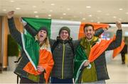 "28 February 2018: Irish Olympians, from left, Brendan ""Bubba"" Newby, Seamus O'Connor and Thomas Maloney Westgaard in Dublin Airport having returned home today from PyeongChang, South Korea. Five athletes from Ireland, four who made their Olympic debuts, competed at the 23rd Winter Games. All five athletes will celebrate their homecoming in Dublin before leaving tomorrow to switch their focus to training and preparations for upcoming competitions. Photo by Eóin Noonan/Sportsfile"