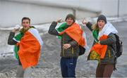 "28 February 2018: Irish Olympians, from left, Thomas Maloney Westgaard, Seamus O'Connor and Brendan ""Bubba"" Newby in Dublin Airport having returned home today from PyeongChang, South Korea. Five athletes from Ireland, four who made their Olympic debuts, competed at the 23rd Winter Games. All five athletes will celebrate their homecoming in Dublin before leaving tomorrow to switch their focus to training and preparations for upcoming competitions. Photo by Eóin Noonan/Sportsfile"