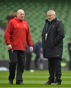 24 February 2018; Wales kicking coach Neil Jenkins, left, with head coach Warren Gatland prior to the NatWest Six Nations Rugby Championship match between Ireland and Wales at the Aviva Stadium in Lansdowne Road, Dublin. Photo by Brendan Moran/Sportsfile