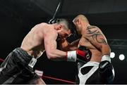 3 March 2018; Cillian Reardon, left, in action against Richard Hegyi during their middleweight bout at the National Stadium in Dublin. Photo by Ramsey Cardy/Sportsfile