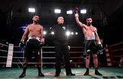 3 March 2018; Cillian Reardon is announced winner against Richard Hegyi in their middleweight bout at the National Stadium in Dublin. Photo by Ramsey Cardy/Sportsfile