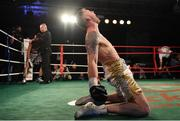 3 March 2018; Roy Sheahan celebrates defeating Jack Cullen during their final bout in the Last Man Standing Boxing Tournament at the National Stadium in Dublin. Photo by Ramsey Cardy/Sportsfile