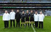 4 February 2018; Referee Johnny Murphy and his officials before the AIB GAA Hurling All-Ireland Intermediate Club Championship Final match between Kanturk and St. Patrick's Ballyragget at Croke Park in Dublin. Photo by Piaras Ó Mídheach/Sportsfile