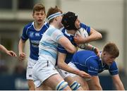 6 March 2018; Ian Wickham of St Mary's College is tackled by Seán O'Brien of Blackrock College during the Bank of Ireland Leinster Schools Senior Cup Semi-Final match between St Mary's College and Blackrock College at Donnybrook Stadium in Dublin. Photo by Daire Brennan/Sportsfile