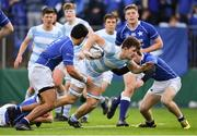 6 March 2018; Michael McGagh of Blackrock College is tackled by Harry McSweeney, left, and Michael McEvoy of St Mary's College during the Bank of Ireland Leinster Schools Senior Cup Semi-Final match between St Mary's College and Blackrock College at Donnybrook Stadium in Dublin. Photo by Harry Murphy/Sportsfile