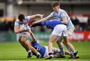 6 March 2018; Michael McGagh of Blackrock College is tackled by, Niall Hurley, left, and Sean O'Brien of Blackrock College during the Bank of Ireland Leinster Schools Senior Cup Semi-Final match between St Mary's College and Blackrock College at Donnybrook Stadium in Dublin. Photo by Harry Murphy/Sportsfile