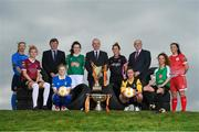 7 March 2018: Eddie Ryan, Marketing Director with Advance Pitstop, left, Tom Dennigan, Continental Tyres Ireland, centre, and Fran Gavin, FAI Director of Leagues, right, with players, from left, Aisling Dunbar UCD Waves FC, Shauna Fox Galway WFC, Therese Hartley Limerick FC, Ciara McNamara Cork City FC, Kylie Murphy Wexford Youths WFC, Bronagh Kane Kilkenny United WFC, Louise Corrigan Peamount United FC and Noelle Murray Shelbourne Ladies FC in attendance at the launch of the 2018 Continental Tyres Women's National League Season at FAI HQ in Abbottstown, Dublin. The 2018 season kicks off this weekend and will run until the Continental Tyres FAI Senior Women's Cup final on November 4th at the Aviva Stadium. Photo by Stephen McCarthy/Sportsfile