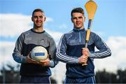 7 March 2018; Ballygowan and Energise Sport today announced the renewal of their partnership with Dublin GAA as the official hydration partners. Dublin footballer James McCarthy, left, and Dublin hurler Danny Sutcliffe at the announcement in Parnell Park, Dublin. Photo by Stephen McCarthy/Sportsfile