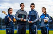 7 March 2018; Ballygowan and Energise Sport today announced the renewal of their partnership with Dublin GAA as the official hydration partners. Dublin camogie player Hannah Hegarty, Dublin footballer James McCarthy, Dublin hurler Danny Sutcliffe and Dublin ladies footballer Lauren Magee at the announcement in Parnell Park, Dublin. Photo by Stephen McCarthy/Sportsfile