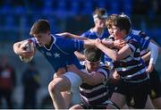 7 March 2018; Adam Mulvihill of St Mary's College is tackled by Adam Hall, left, and Rory Byrne of Terenure College during the Bank of Ireland Leinster Schools Junior Cup Round 2 match between St. Mary's College and Terenure College at Donnybrook Stadium in Dublin. Photo by Daire Brennan/Sportsfile