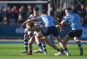 7 March 2018; Patrick Lysaght of Belvedere College is tackled by Lee Barron of St Michael's College during the Bank of Ireland Leinster Schools Senior Cup semi-final match between St. Michael's College and Belvedere College at Donnybrook Stadium in Dublin. Photo by Daire Brennan/Sportsfile