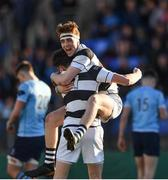 7 March 2018; David Lacey and Ted Walsh of Belvedere College celebrate after the Bank of Ireland Leinster Schools Senior Cup semi-final match between St. Michael's College and Belvedere College at Donnybrook Stadium in Dublin. Photo by Harry Murphy/Sportsfile