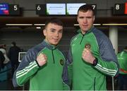 8 March 2018; Team Ireland Boxing captain Dean Gardiner, right, of Clonmel Boxing Club, Tipperary, and Kieran Molloy, of Oughterard Boxing Club, Galway, prior to their departure to the USA, ahead of a three fight tour of New England, at Dublin Airport in Dublin. Photo by Seb Daly/Sportsfile