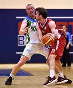 8 March 2018; Kieran Donaghy of Garvey's Tralee Warriors closes down Stephen James of Black Amber Templeogue during the Basketball Ireland Men's SuperLeague match between Black Amber Templeogue and Garvey's Tralee Warriors at Oblate Hall in Inchicore, Dublin. Photo by Brendan Moran/Sportsfile