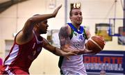 8 March 2018; Goran Pantovic of Garvey's Tralee Warriors in action against Jean Francois Basileu of Black Amber Templeogue during the Basketball Ireland Men's SuperLeague match between Black Amber Templeogue and Garvey's Tralee Warriors at Oblate Hall in Inchicore, Dublin. Photo by Brendan Moran/Sportsfile